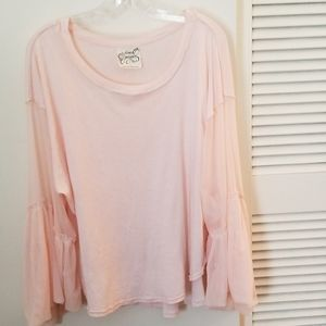 Free people pale pink bell sleeve blouse